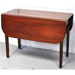 A early 20th century mahogany Pembroke table on square section supports, length 96cm.