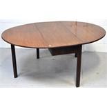 A George III mahogany oval drop leaf dining table, length 160cm.