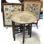 A needlework tilt-top table/fire screen,