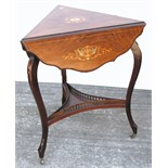 An Edwardian inlaid drop leaf corner table, lower shelf with gallery sides on cabriole legs and