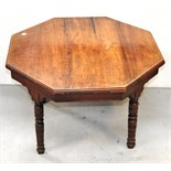 An octagonal occasional table on turned legs and two small side tables (3).