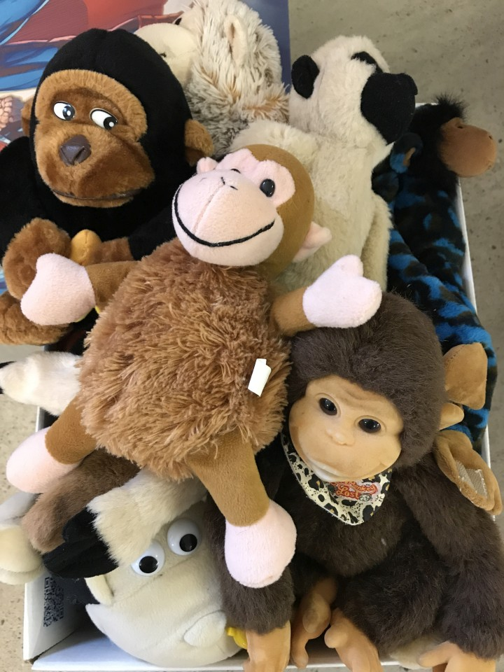 Lot 157 - A box of assorted soft toy monkeys.