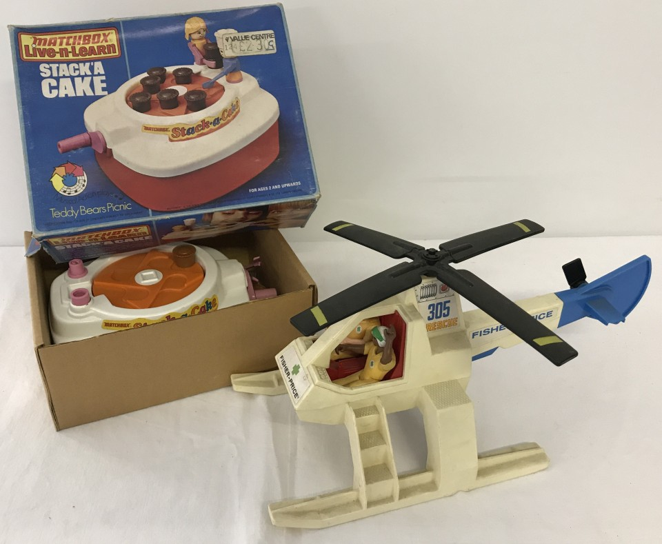 Lot 49 - A vintage Fisher Price Adventure People Rescue helicopter with figures, circa 1970's.