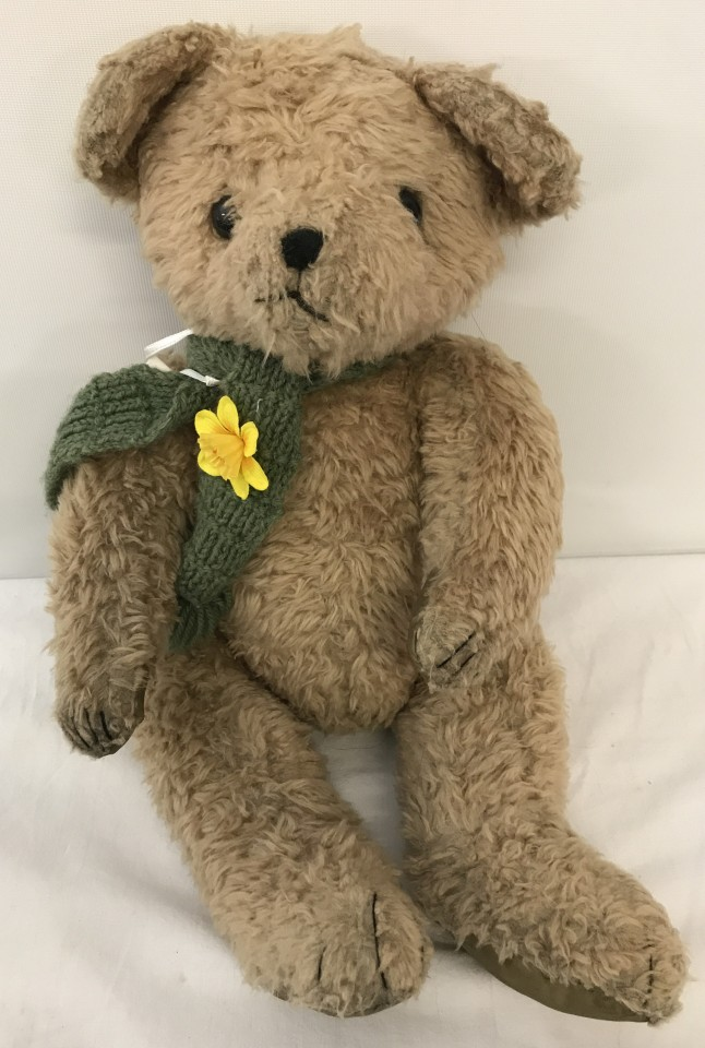 "Lot 144 - A 17"" tall vintage jointed teddy bear."