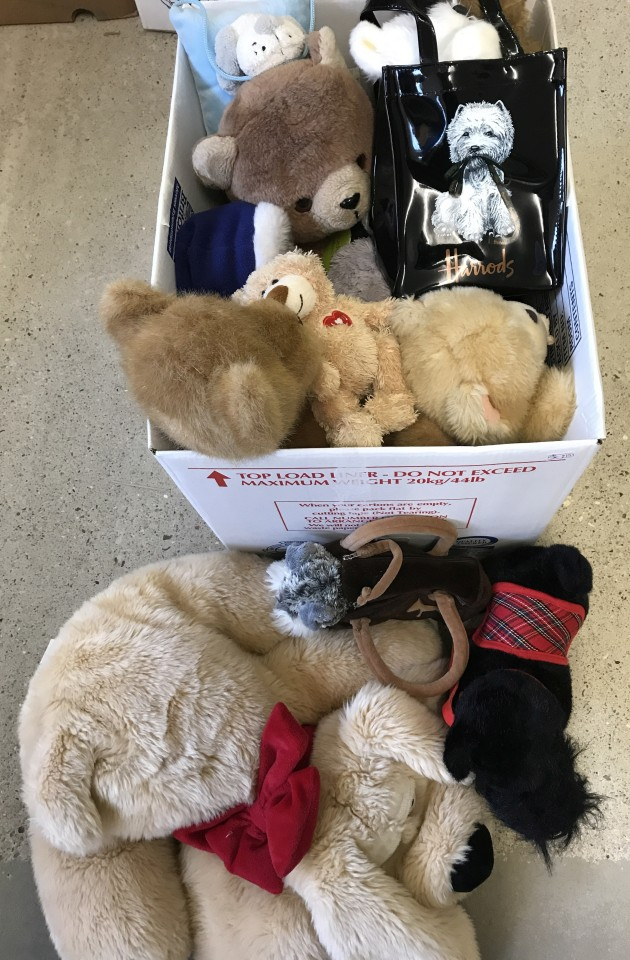 Lot 156 - A box of assorted soft toys, mostly dogs and bears.