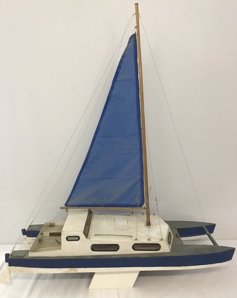 Lot 62 - A scratch built sailing yacht in blue and white.