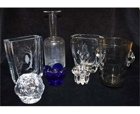 A GROUP OF DANISH AND SWEDISH ART GLASS  including A Strombergshyttan vase with etched decoration of an owl in a tree, the la