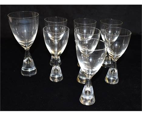 SEVEN MATCHING HOLMEGAARD 'PRINCESS' GLASSES14cm high, and another 16.5cm high