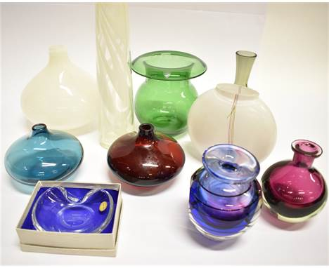 A GROUP OF SCANDINAVIAN AND OTHER ART GLASS  including a Kosta Boda glass 'Rainbow' vase, signed by Bertil Vallien and number