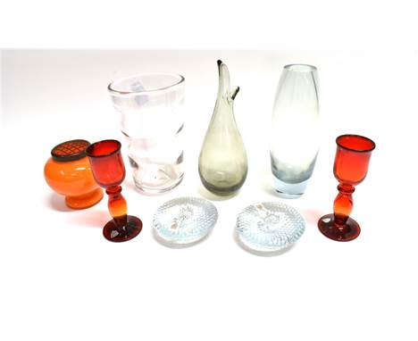 A COLLECTION OF GLASSWARE  including Whitefriars Optic vase, pair Swedish Hytta red glass candlesticks, Holmegaard glass vase