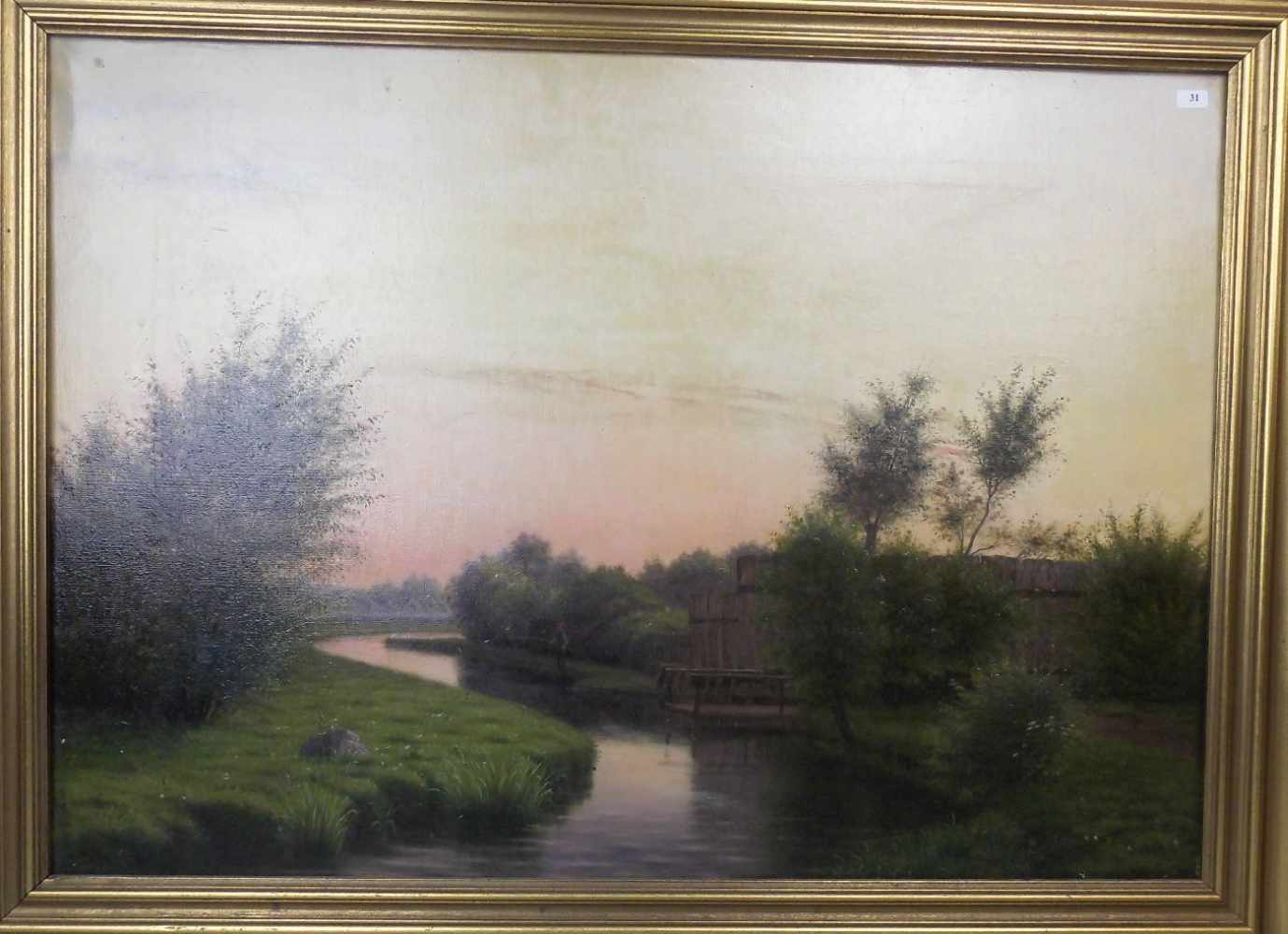 "Lot 31 - FOSS, HARALD FREDERIK (Fredericia, Dänemark 1843-1922 ebd.), Gemälde / painting: ""Flusslandschaft"