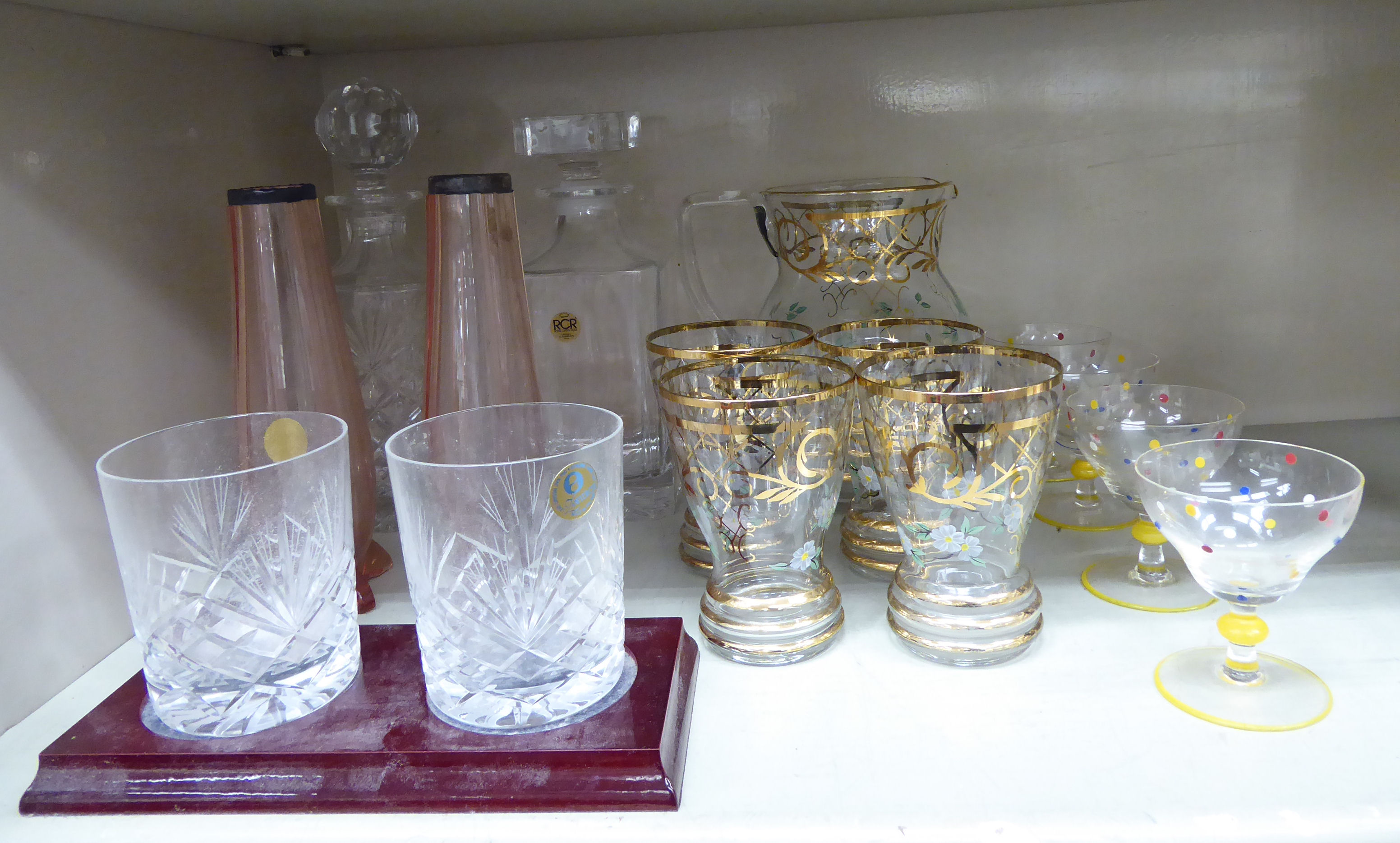 Lot 33 - Table glassware: to include a five piece cordial set,