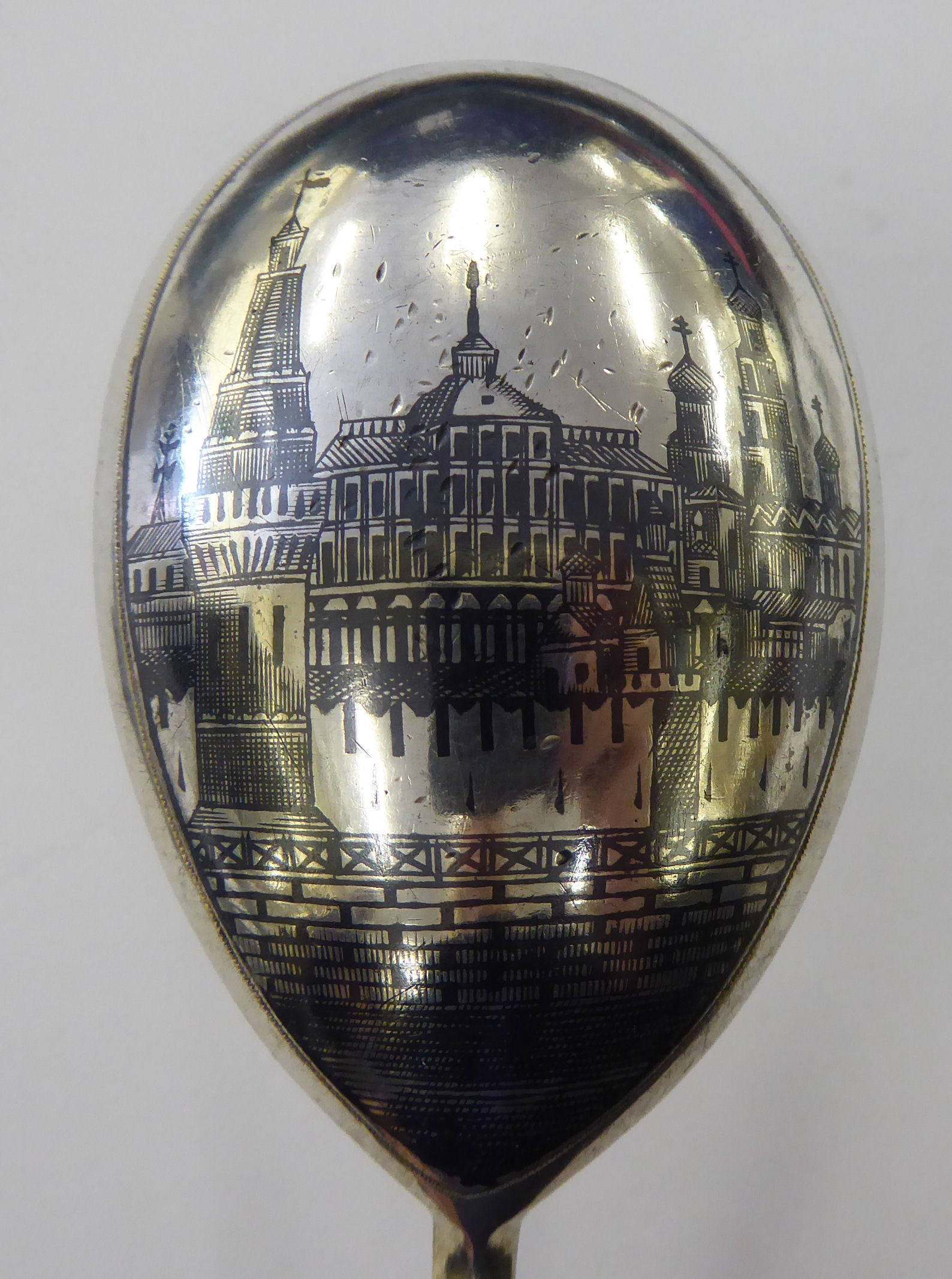 Lot 36 - A 20thC Eastern European silver coloured metal presentation spoon,