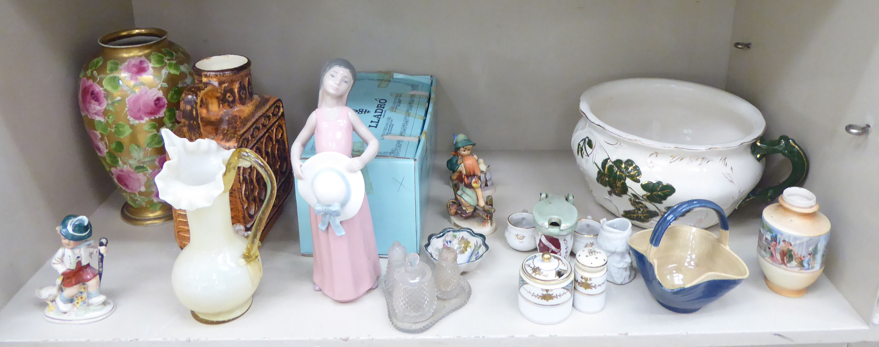 Lot 45 - Decorative ceramics and glassware: to include a girl wearing a pink dress 10''h boxed OS3