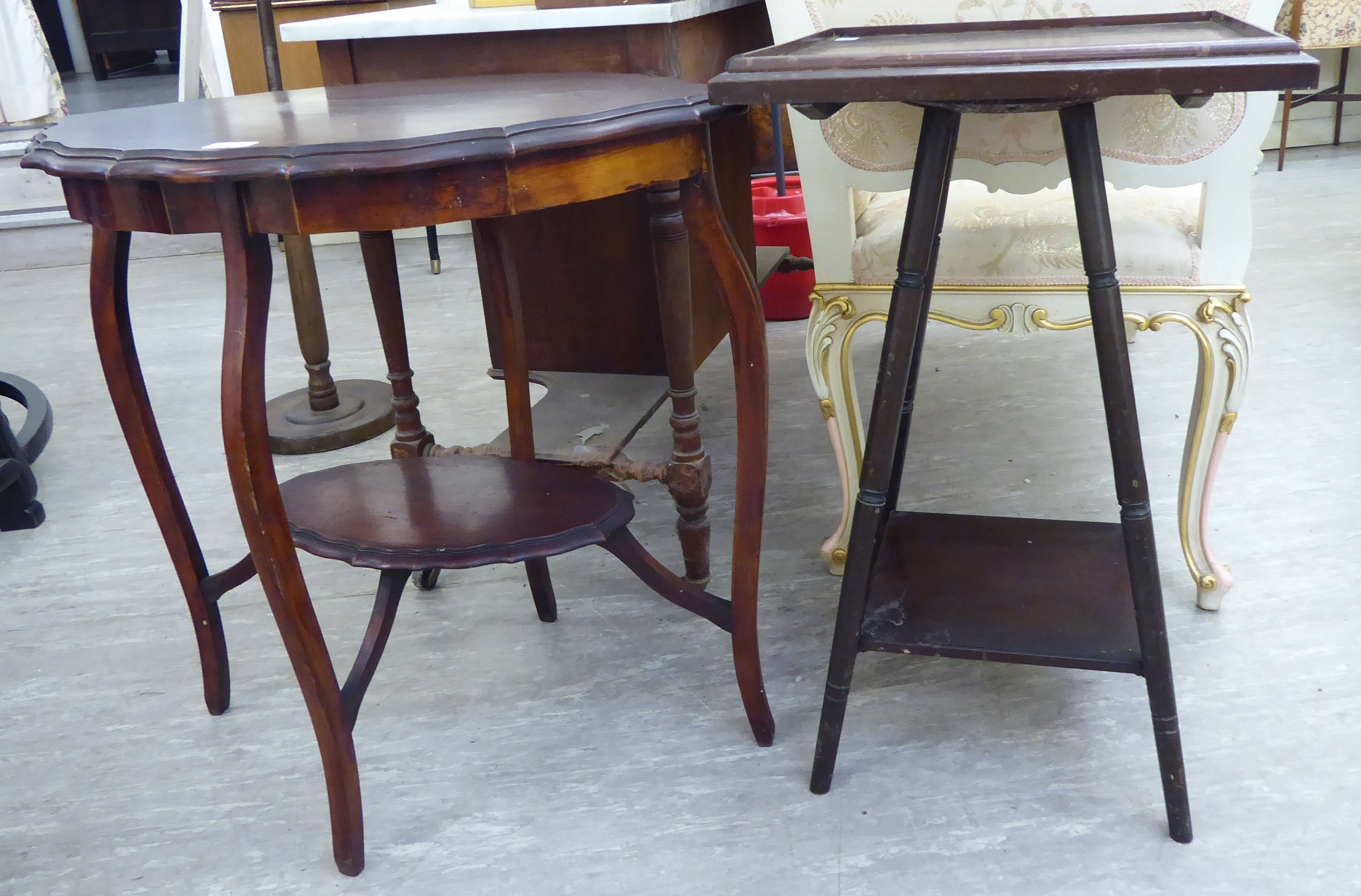 Lot 28 - A 1920s mahogany occasional table, the tray top raised on turned, splayed legs,