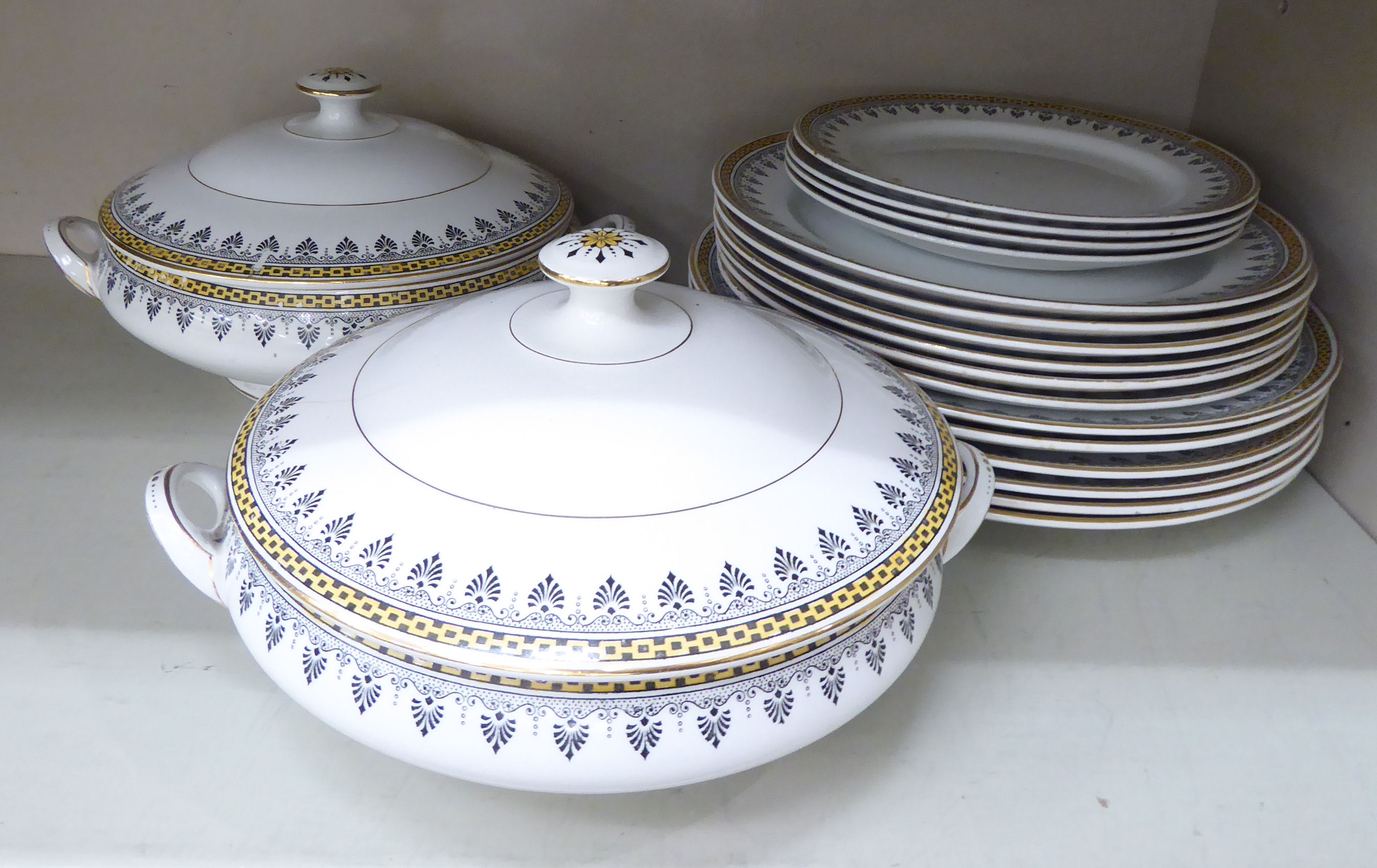 Lot 46 - Leighton Pottery Grecian pattern tableware: to include a pair of covered serving dishes OS6