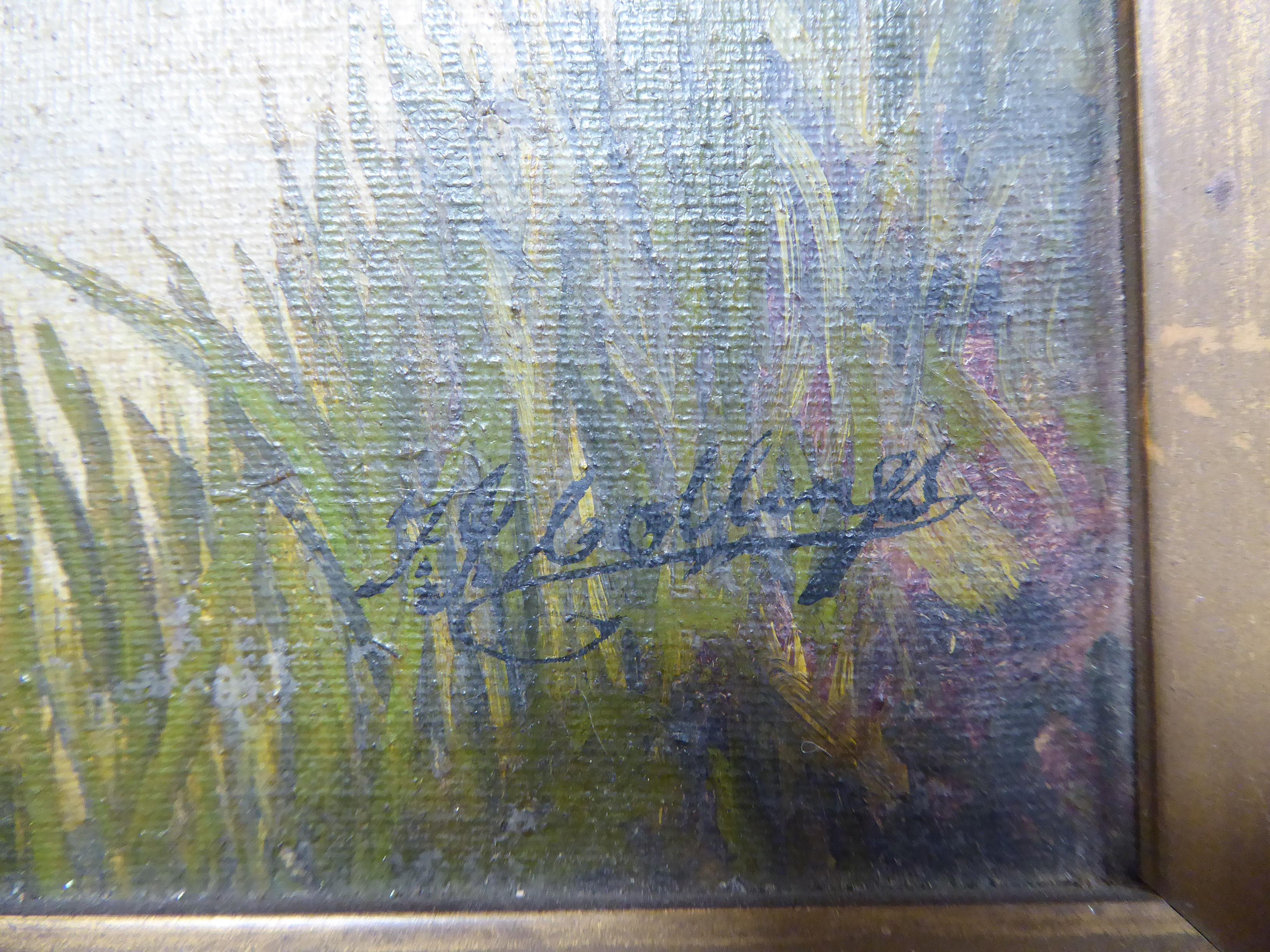 Lot 40 - J* Collinges - a riverscape with a figure on a bridge oil on canvas bears a signature 11.
