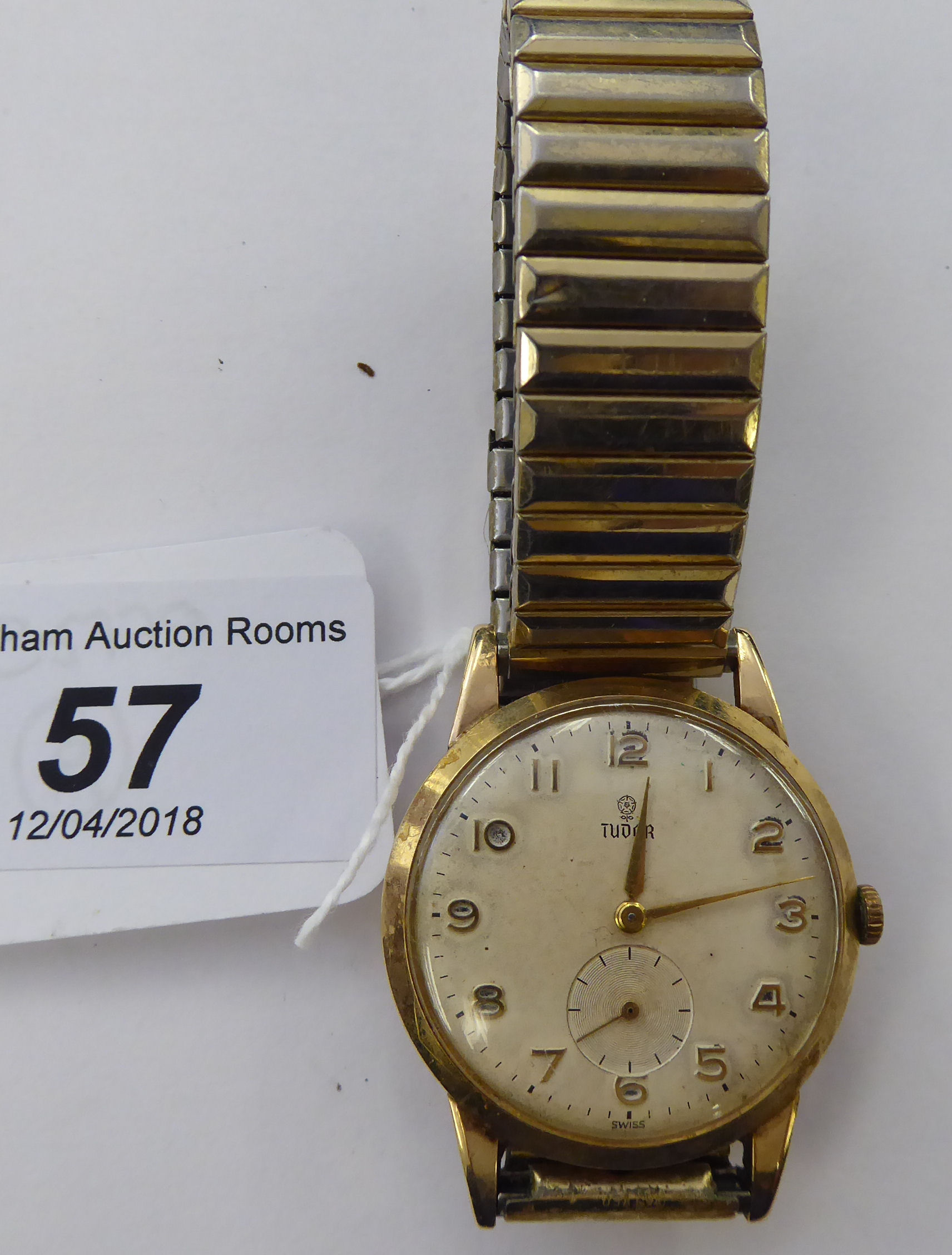 Lot 57 - A 1960s Tudor yellow metal cased and 9ct gold backed wristwatch,