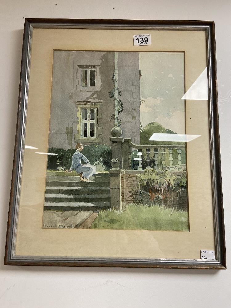 A WATERCOLOUR DEPICTING A LADY SAT UPON A SET OF STAIRS, SIGNED TO BOTTOM LEFT 'S.FENTON' FRAMED AND