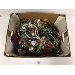 A LARGE COLLECTION OF VINTAGE COSTUME JEWELLERY, MOSTLY NECKLACES, BANGLES AND EARRINGS