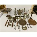 ASSORTED SILVER PLATED ITEMS, INCLUDING TOAST RACK, CANDLESTICKS, NAPKIN RINGS AND MORE, ALSO