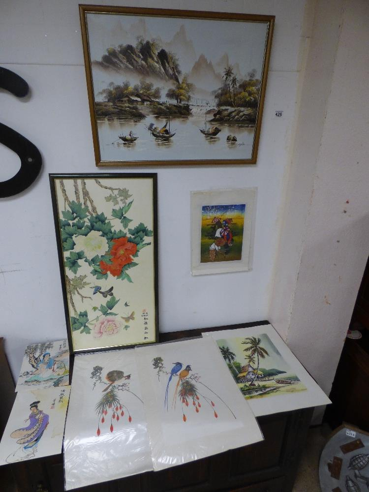SEVERAL PICTURES COMPRISING AN OIL ON BOARD OF AN ORIENTAL SCENE WITH BOATS, TWO PRINTS OF BIRDS