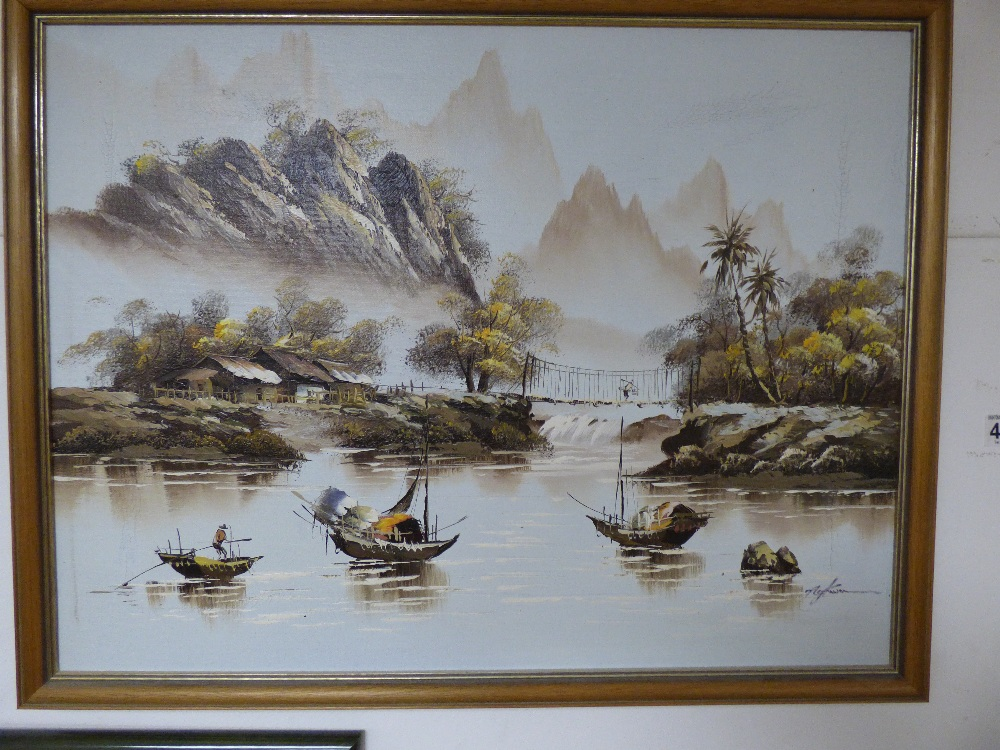 SEVERAL PICTURES COMPRISING AN OIL ON BOARD OF AN ORIENTAL SCENE WITH BOATS, TWO PRINTS OF BIRDS - Image 2 of 11