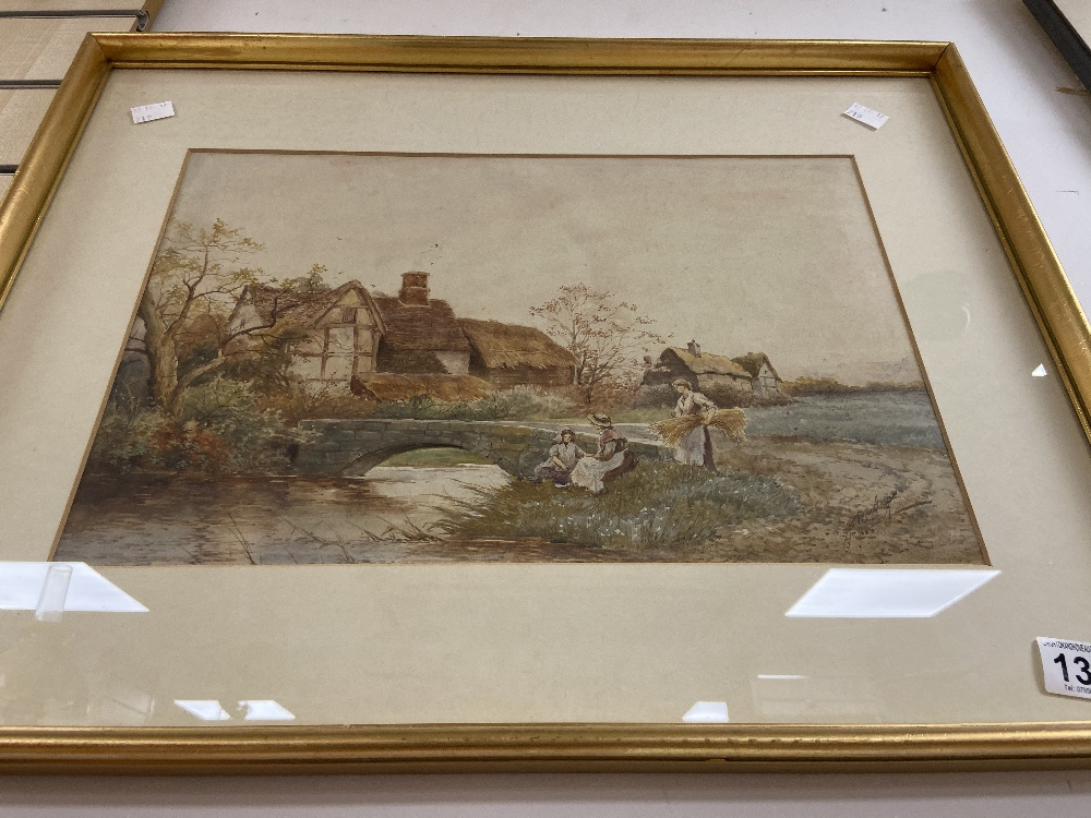 A LATE 19TH/EARLY 20TH CENTURY WATERCOLOUR OF A COUNTRY SCENE FROM A BY GONE ERA, SIGNED 'J BARCLAY' - Image 2 of 3