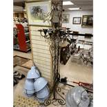 A LARGE GILDED ORNATE WROUGHT IRON STANDARD LAMP WITH GLASS DROPS 207 CMS HEIGHT
