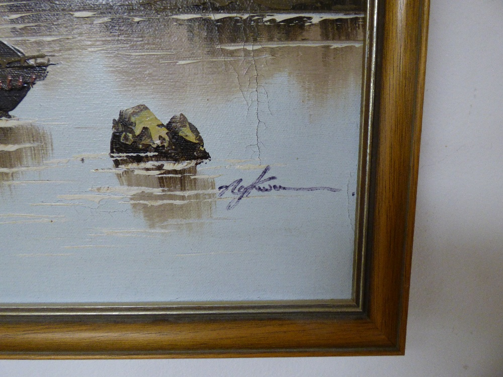 SEVERAL PICTURES COMPRISING AN OIL ON BOARD OF AN ORIENTAL SCENE WITH BOATS, TWO PRINTS OF BIRDS - Image 3 of 11