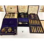 SIX BOXES OF SILVER PLATED FLATEWARE, INCLUDING CAKE FORKS, FISH KNIVES AND FORKS AND MORE