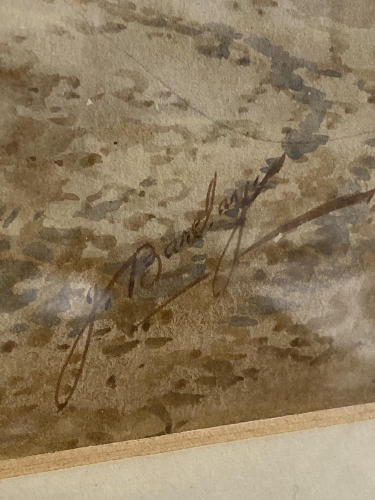 A LATE 19TH/EARLY 20TH CENTURY WATERCOLOUR OF A COUNTRY SCENE FROM A BY GONE ERA, SIGNED 'J BARCLAY' - Image 3 of 3