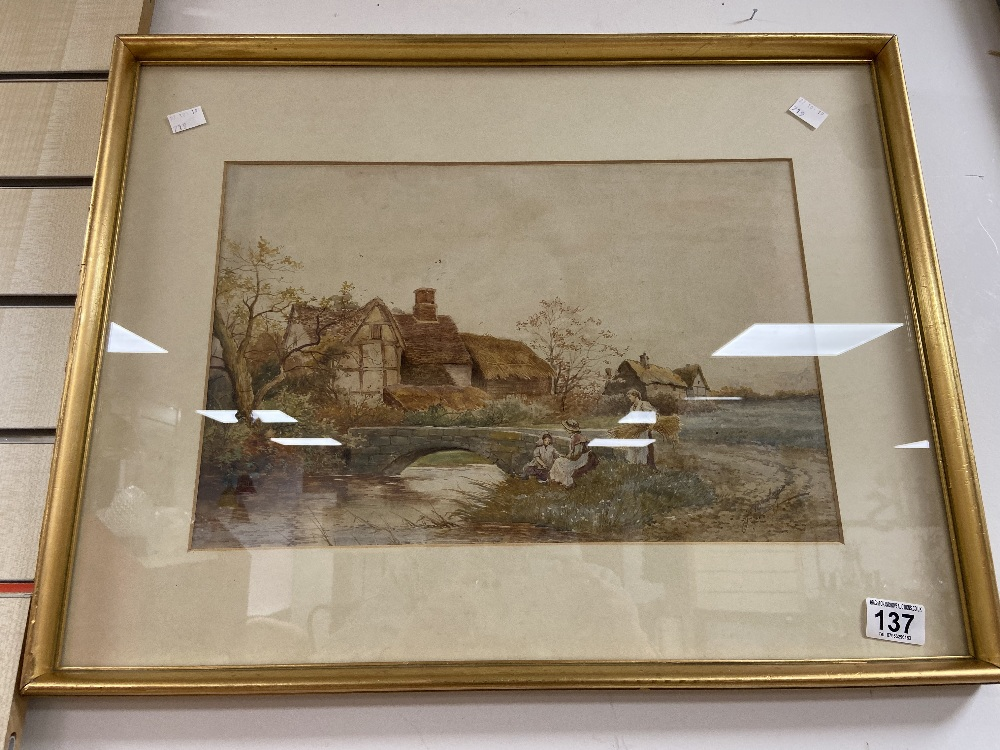 A LATE 19TH/EARLY 20TH CENTURY WATERCOLOUR OF A COUNTRY SCENE FROM A BY GONE ERA, SIGNED 'J BARCLAY'
