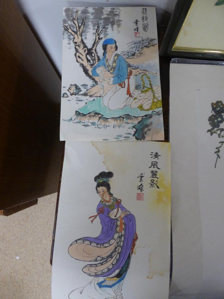 SEVERAL PICTURES COMPRISING AN OIL ON BOARD OF AN ORIENTAL SCENE WITH BOATS, TWO PRINTS OF BIRDS - Image 7 of 11