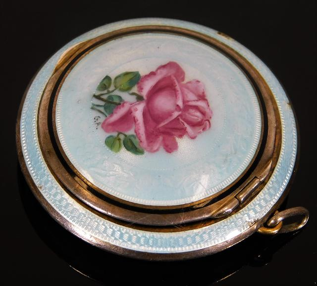 Lot 301 - A French silver enamelled snuff box pendant with h