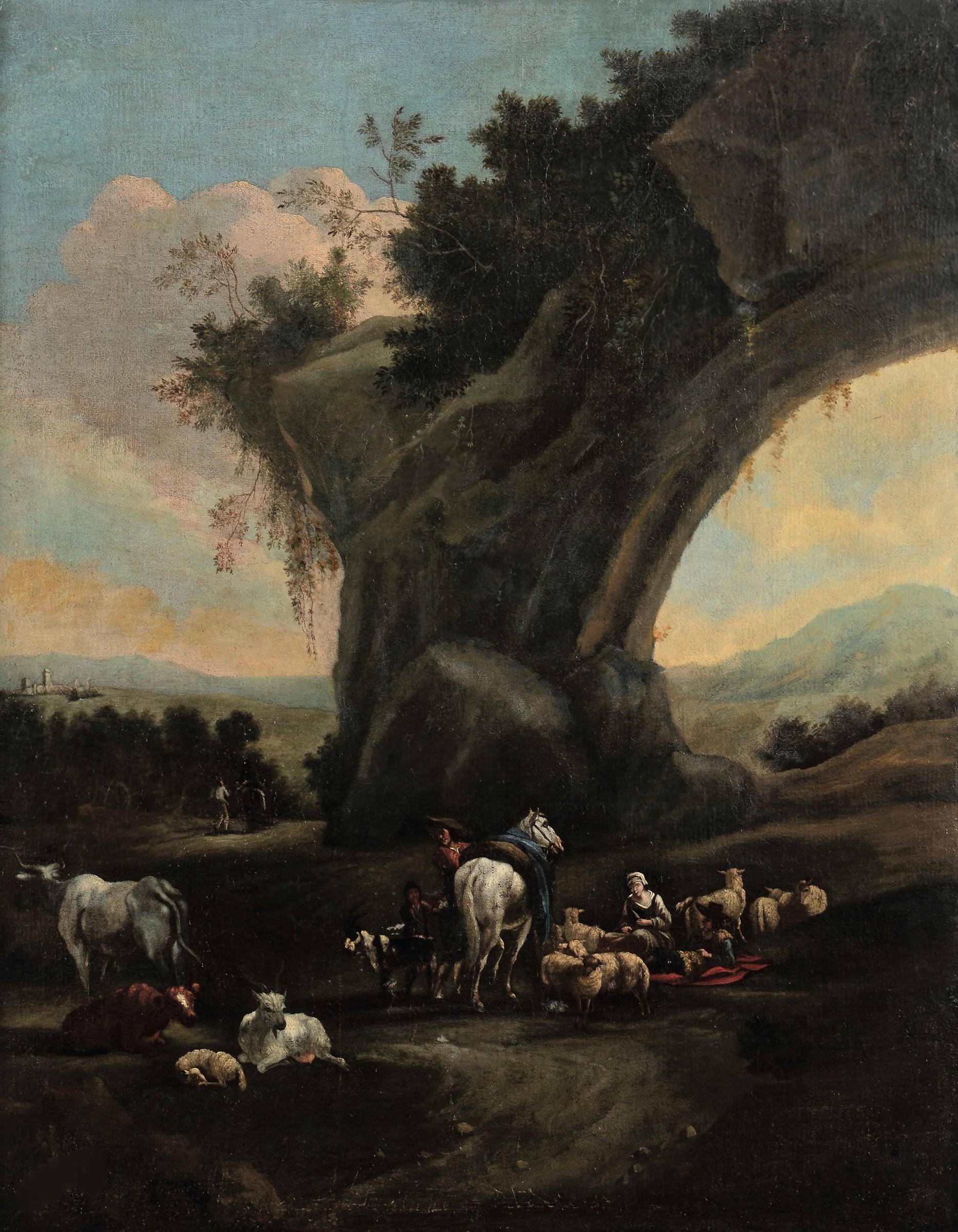 Scuola fiamminga del XVII secolo, Paesaggi con pastori e armenti - coppia di dipinti [...]