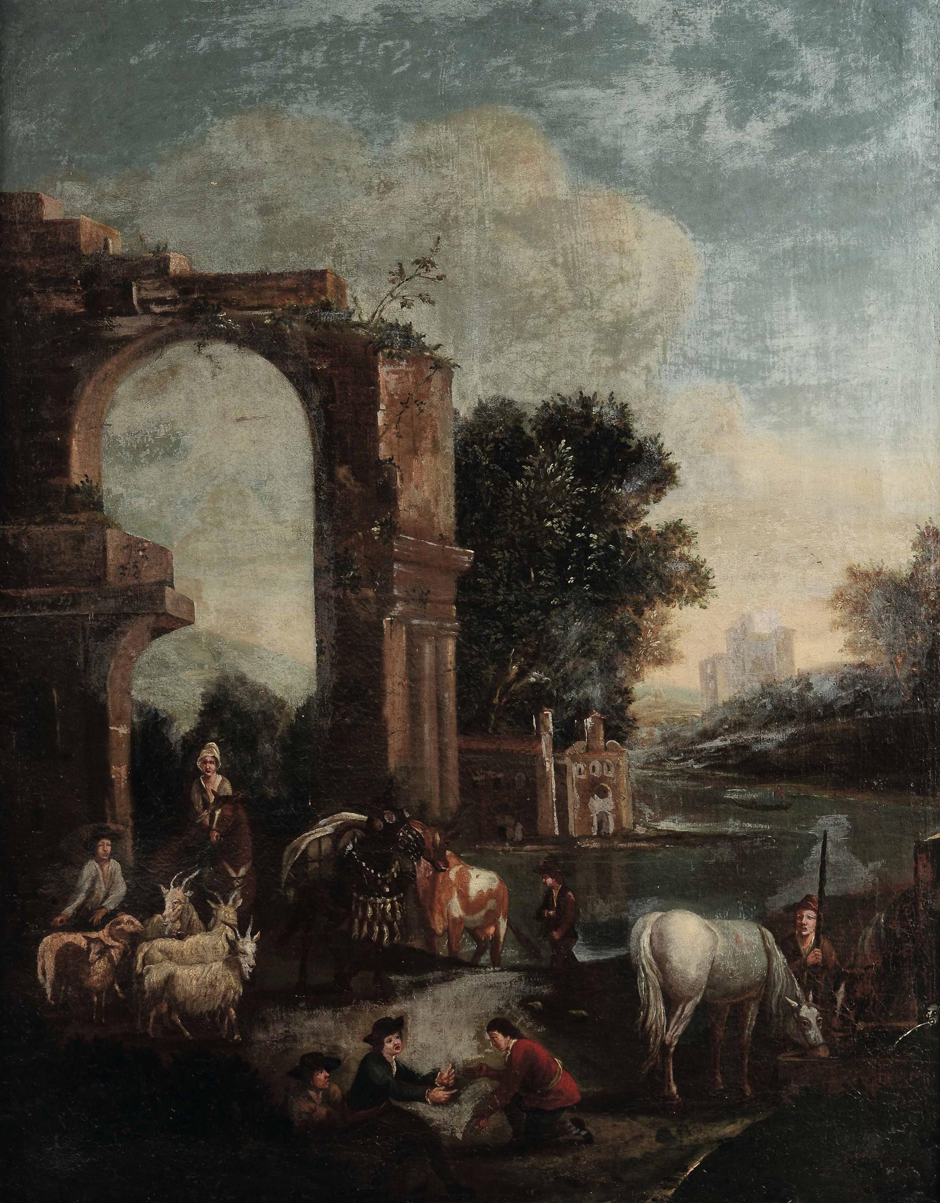 Scuola fiamminga del XVII secolo, Paesaggi con pastori e armenti - coppia di dipinti [...] - Bild 2 aus 4