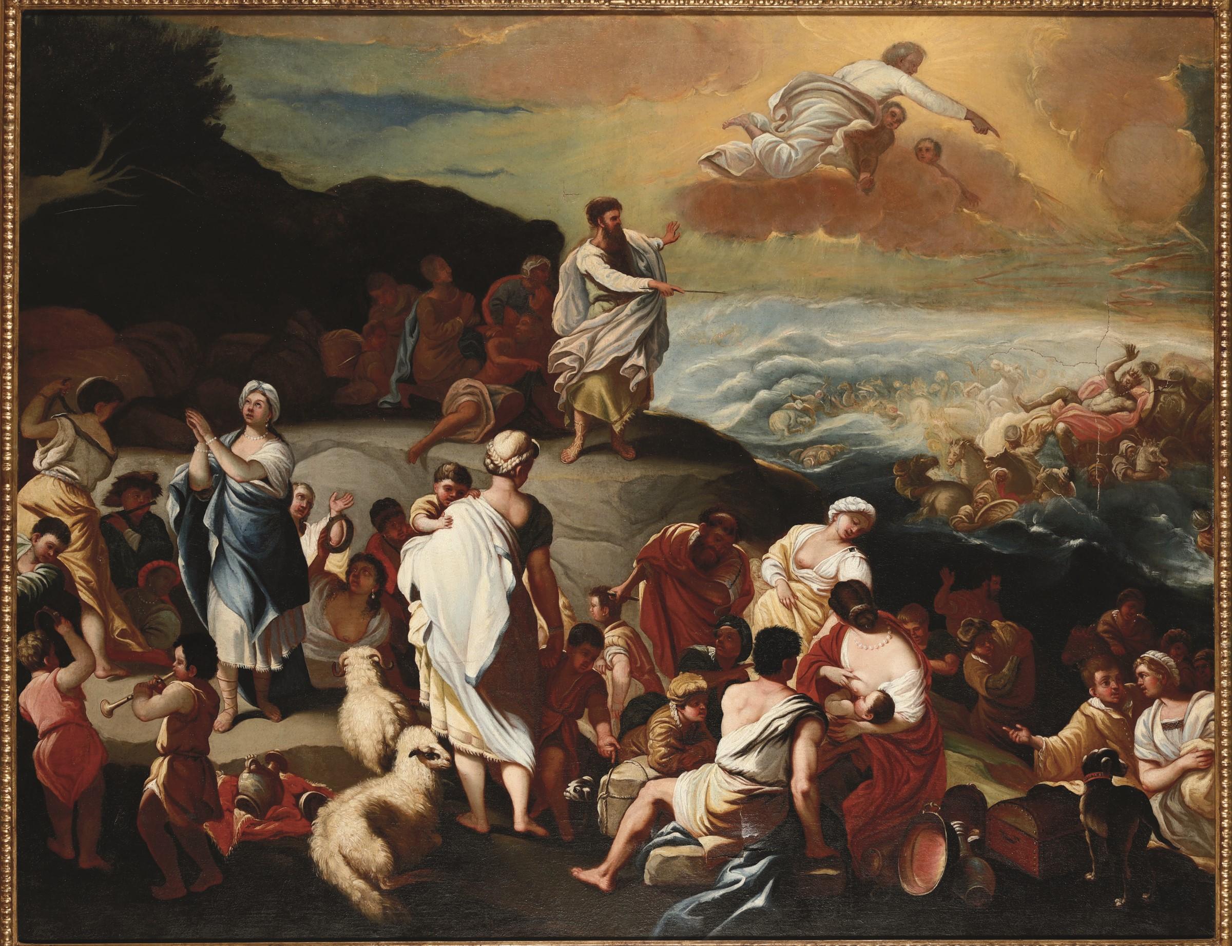 Luca Giordano (Napoli 1634-1705), copia da, La traversata del Mar Rosso - olio su [...]
