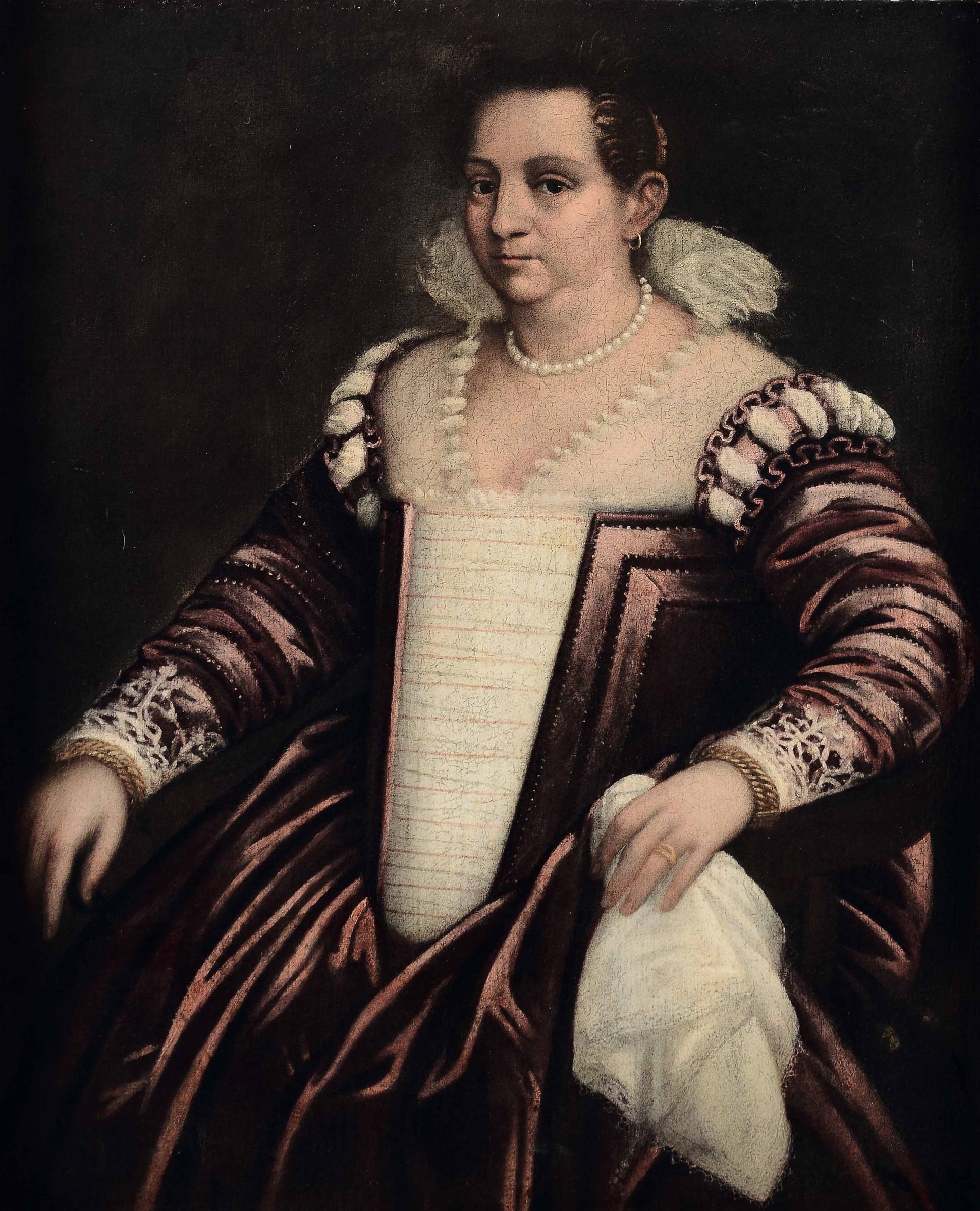 Scuola veneta dell'inizio del XVII secolo, Ritratto di gentildonna con filo di perle [...]