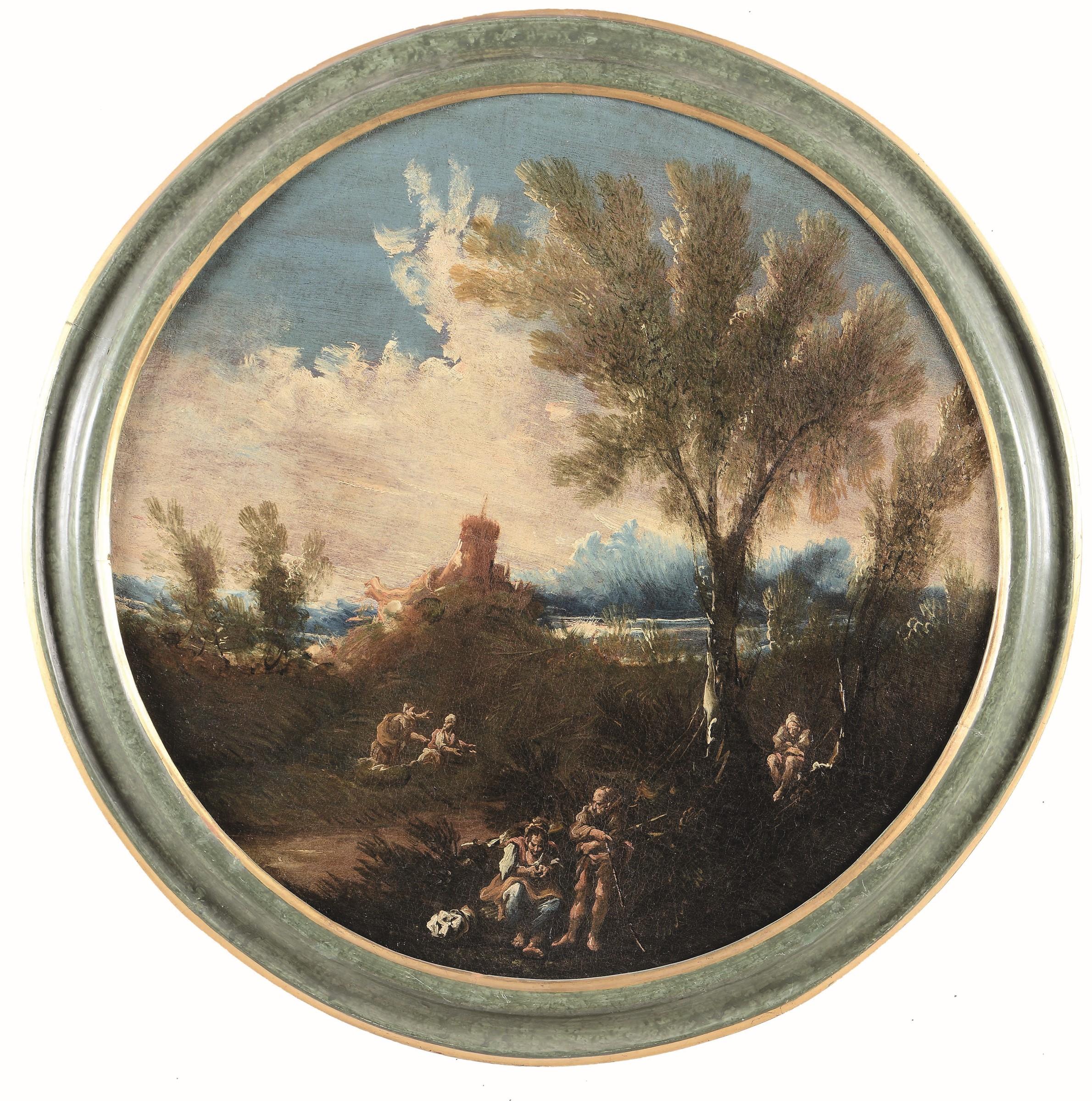Anton Francesco Peruzzini (Ancona 1643 - Milano 1724), Paesaggio con contadini - [...]