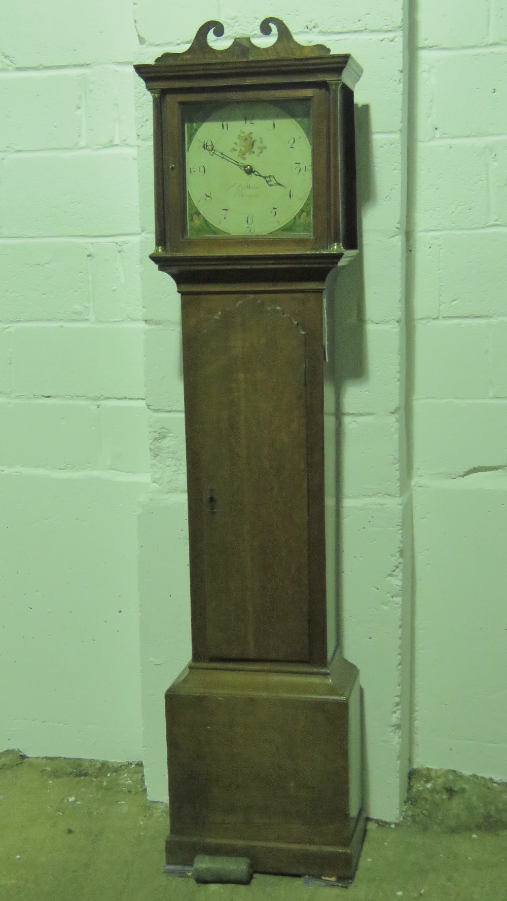 Lot 834 - A 30 hour painted face long case clock i