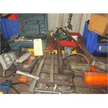 LOT OF HAND TOOLS CONSISTING OF: shop saw, skull saw, sledge hammers, etc.