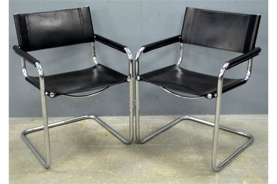 set of six fasem italy black leather and chrome chairs after a
