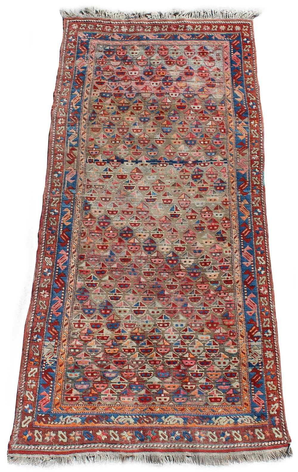 Lot 56 - Property of a deceased estate - an early 20th century Caucasian long rug, with all-over field, 88 by