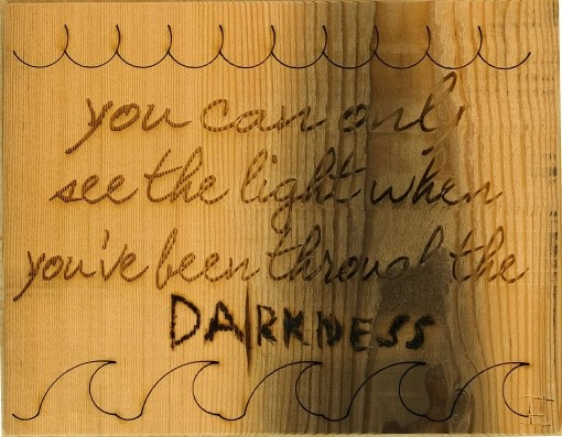 Lot 1M - Artist: Barney Martin (Helston Community College) Title: Darkness Quote Size: 16.5 x 21.