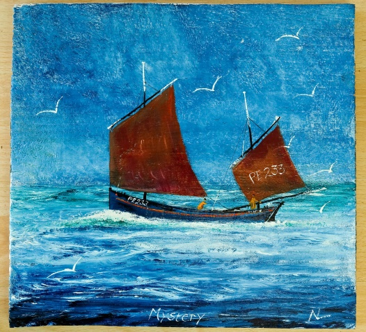 Lot 14 - Artist: Nigel Legge Title: Lugger 'Mystery' of Newlyn Size: 29 x 30.5 x 1.