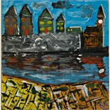 Lot 38 - Artist: Edward Rowe aka Kernow King Title: Porthleven …… Apparently! Size: 28.5 x 27.5 x 1.