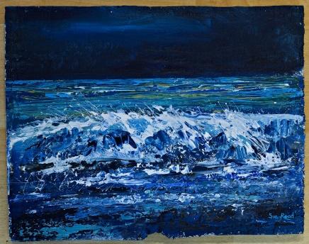 Lot 17 - Artist: Sue Read Title: The Night Sea Size: 29 x 37 x 2cm Medium: Oil Sue Read Sue is a Cornish