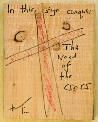 Lot 35 - Artist: Bishop Tim Title: The Word of the Cross Size: 37 x 29 x 2.