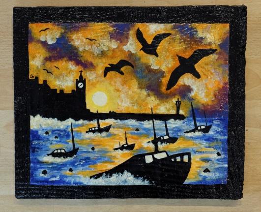 Lot 23 - Artist: Caitlin McLintock Title: Sunrise over Porthleven Pier Size: 28.